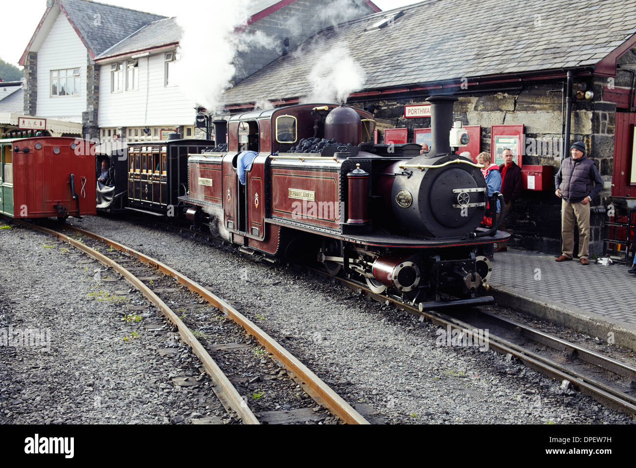 Ffestiniog railway at Portmadog, North Wales - Stock Image