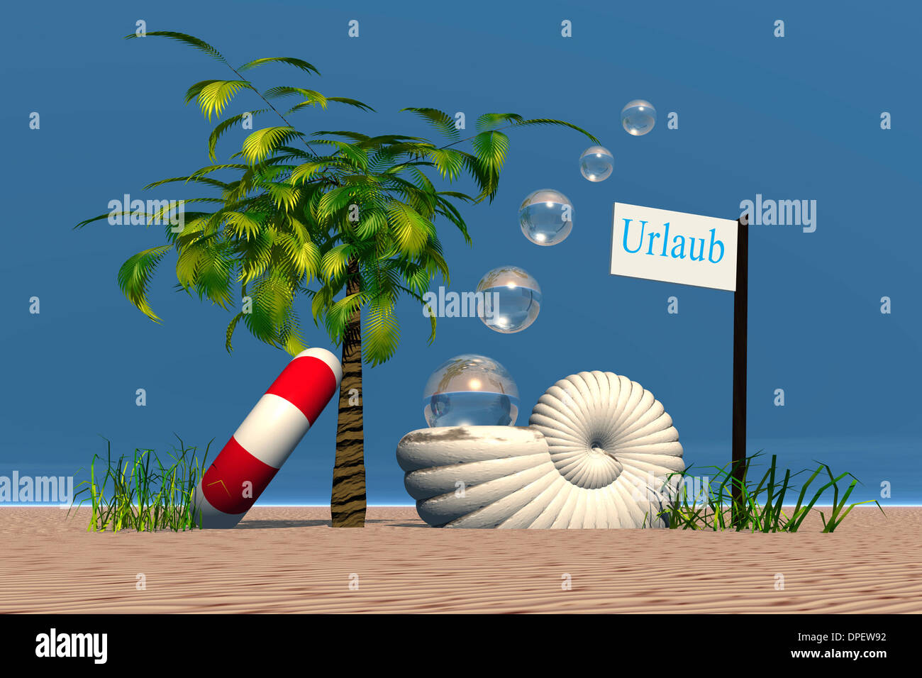 Sign Urlaub or holiday with nautilus shell, palm tree and swimming tire at the beach, 3D graphics - Stock Image