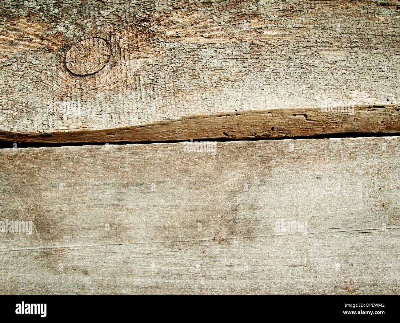 Background of two rough planks with knots of dark - Stock Image