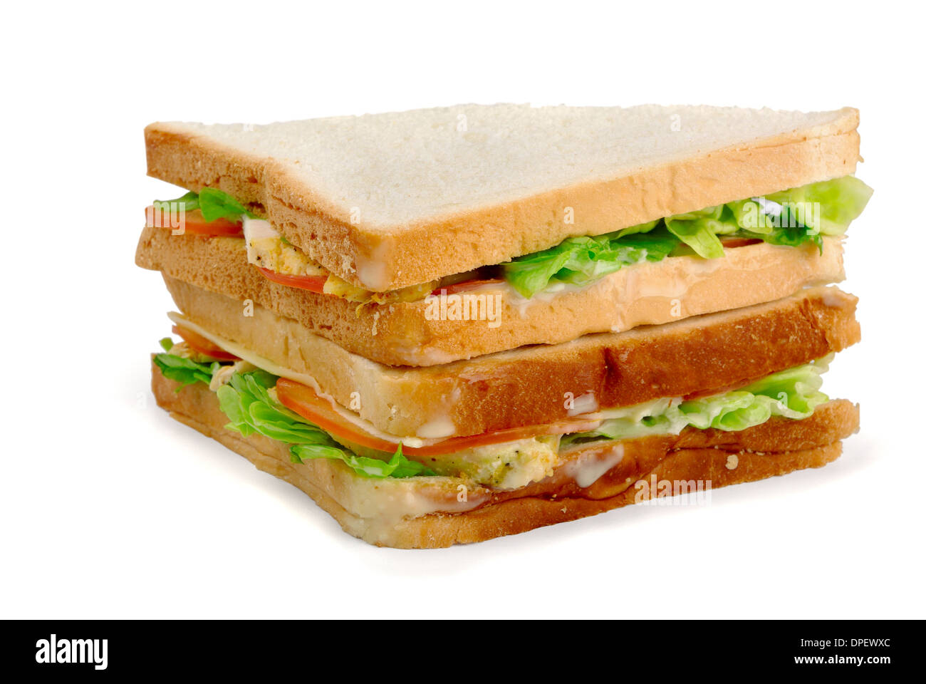 Chicken sandwich on a white background - Stock Image