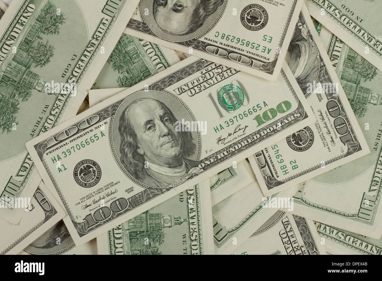 Background texture of the green hundred-dollar bills - Stock Image