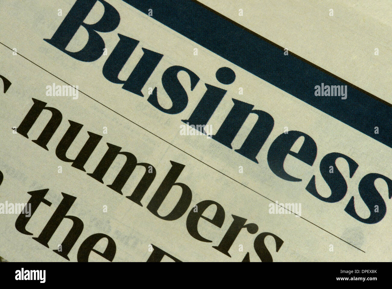 Excerpt from Business newspaper - Stock Image