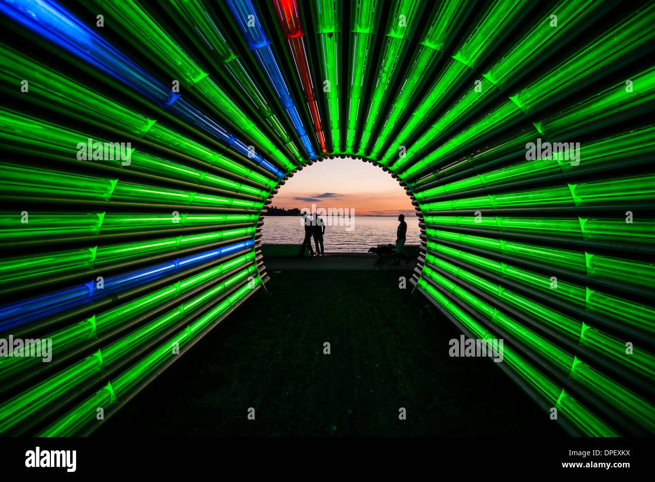 Light tunnel by the artist Gerry Ammann, looking towards Lake Constance, at sunset, Bregenz, Vorarlberg, Austria Stock Photo