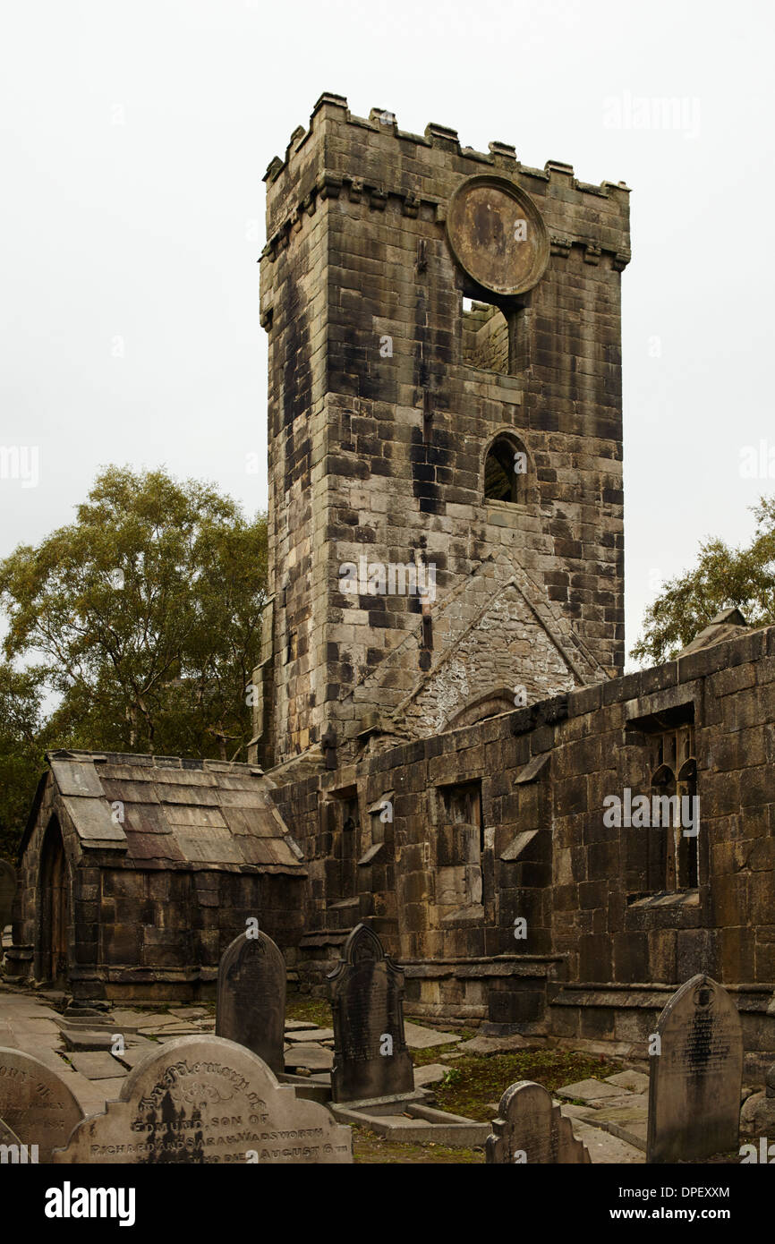 Old abandoned church of St Thomas a Becket at Heptonstall, Yorkshire - Stock Image