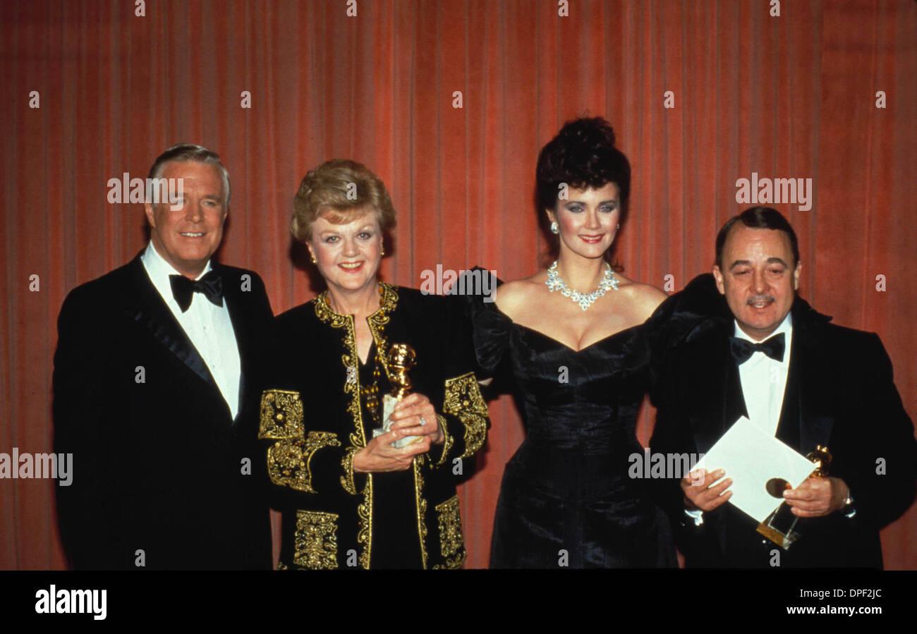 Sep. 25, 2006 - ANGELA LANSBURY WITH GEORGE PEPPARD , LYNDA CARTER AND JOHN HILLERMAN 1985.F0432.SUPPLIED BY   PHOTOS, INC. (Credit Image: © Globe Photos/ZUMApress.com) - Stock Image