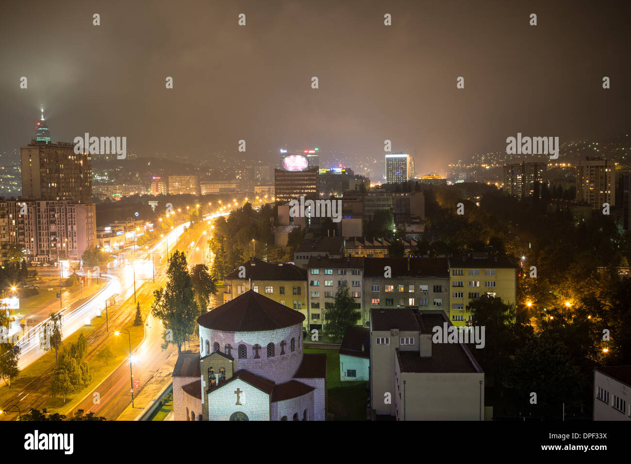 City skyline at night, Sarajevo, Bosnia and Herzegovina - Stock Image