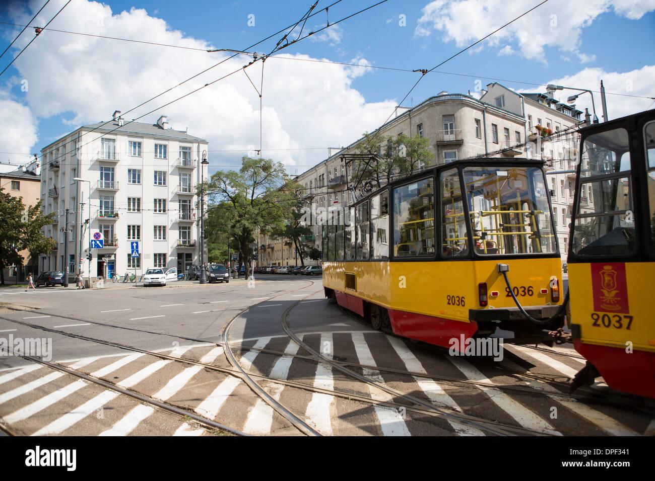 Tram, Praga district, Warsaw, Poland - Stock Image