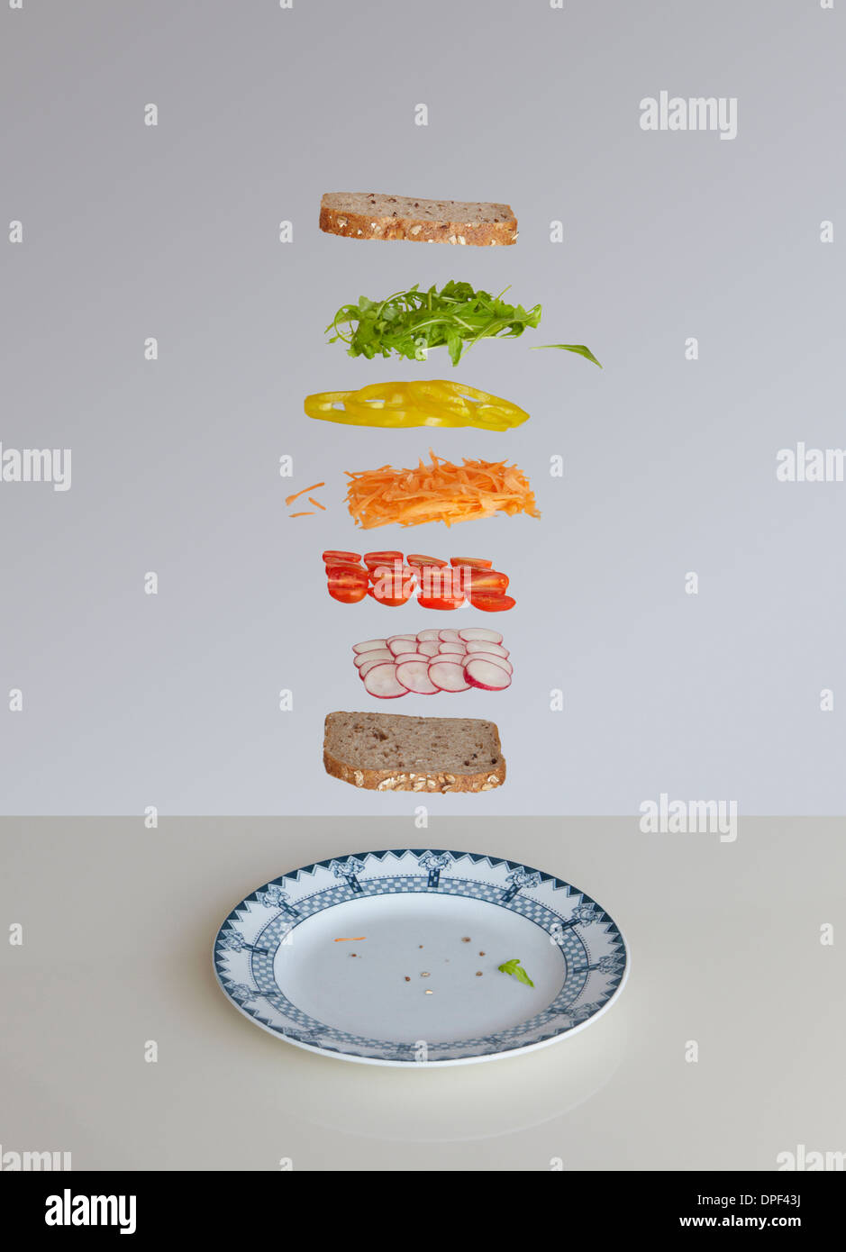 Salad sandwich deconstructed - Stock Image
