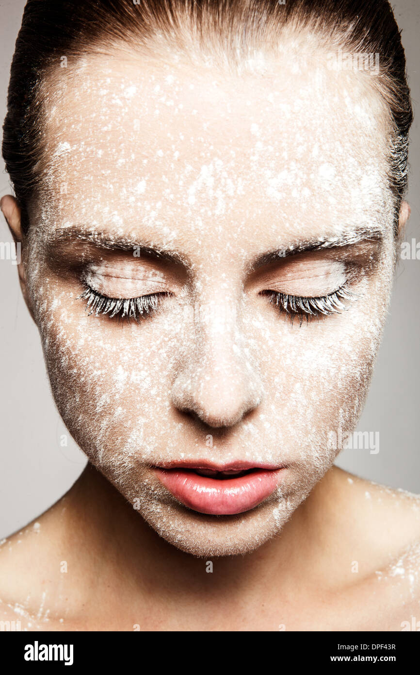 Model with powder on face - Stock Image