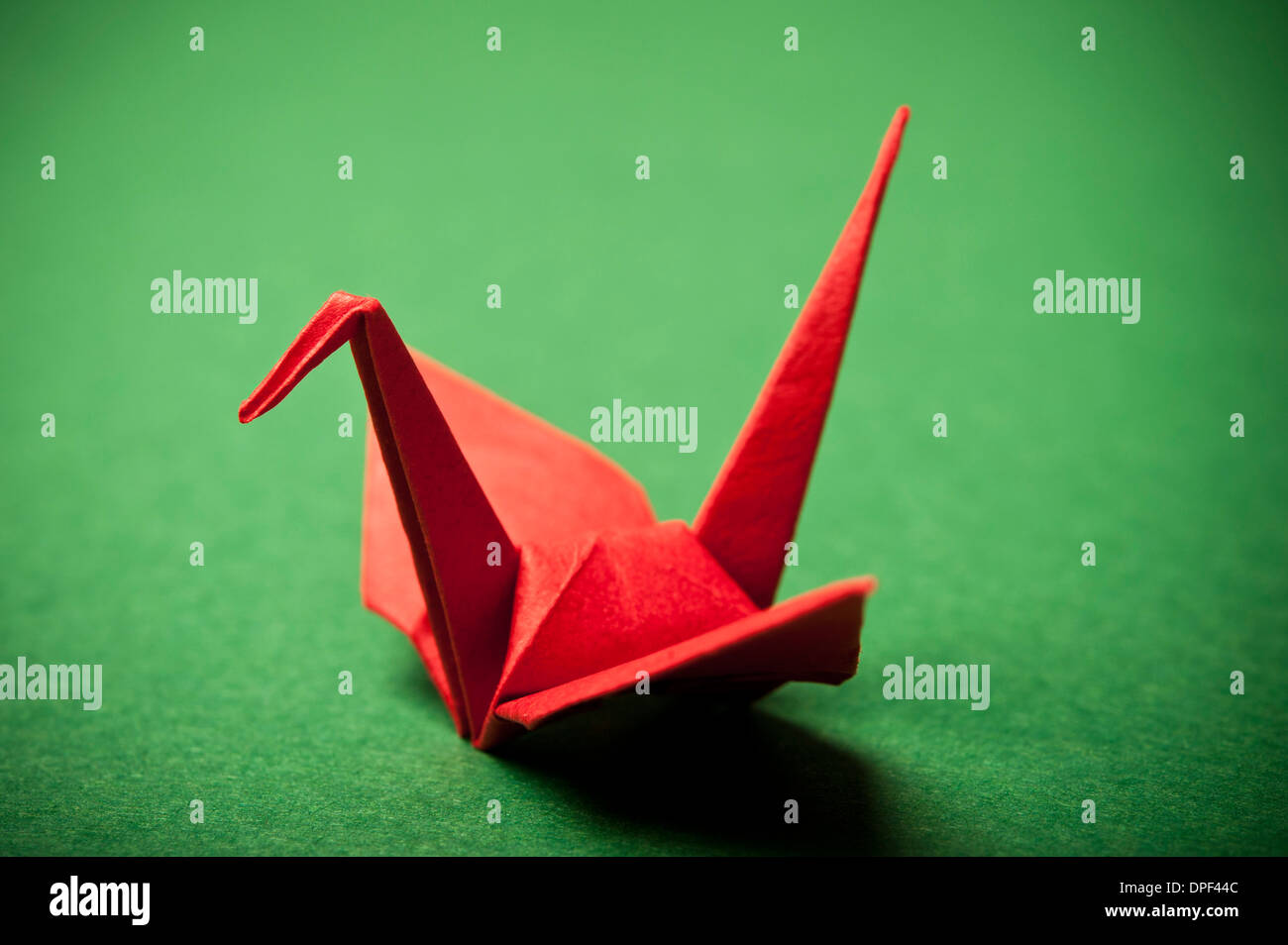 red origami bird - Stock Image