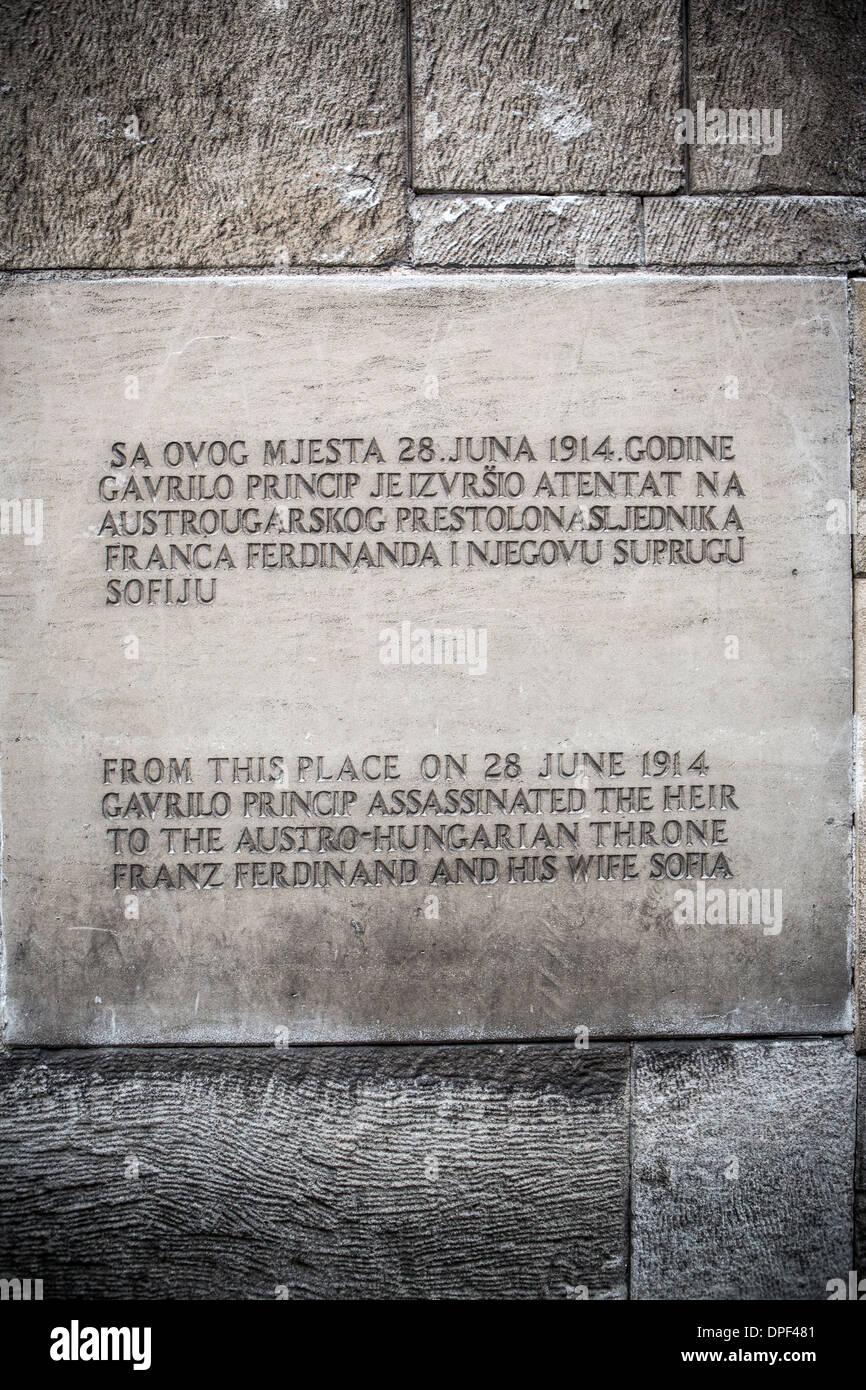 WW1 commemorative plaque, Sarajevo, Bosnia and Herzegovina - Stock Image