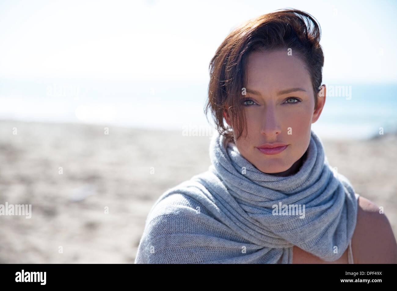 Portrait of mature woman with short hair, Newport Beach, California, USA - Stock Image
