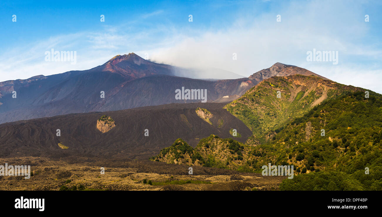 Mount Etna Volcano, with a lava field in the foreground, UNESCO World Heritage Site, Sicily, Italy, Europe Stock Photo
