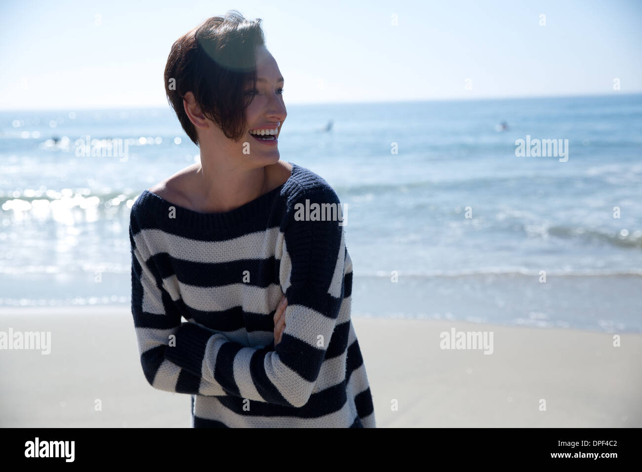 Mature woman wearing striped top, Newport Beach, California, USA - Stock Image