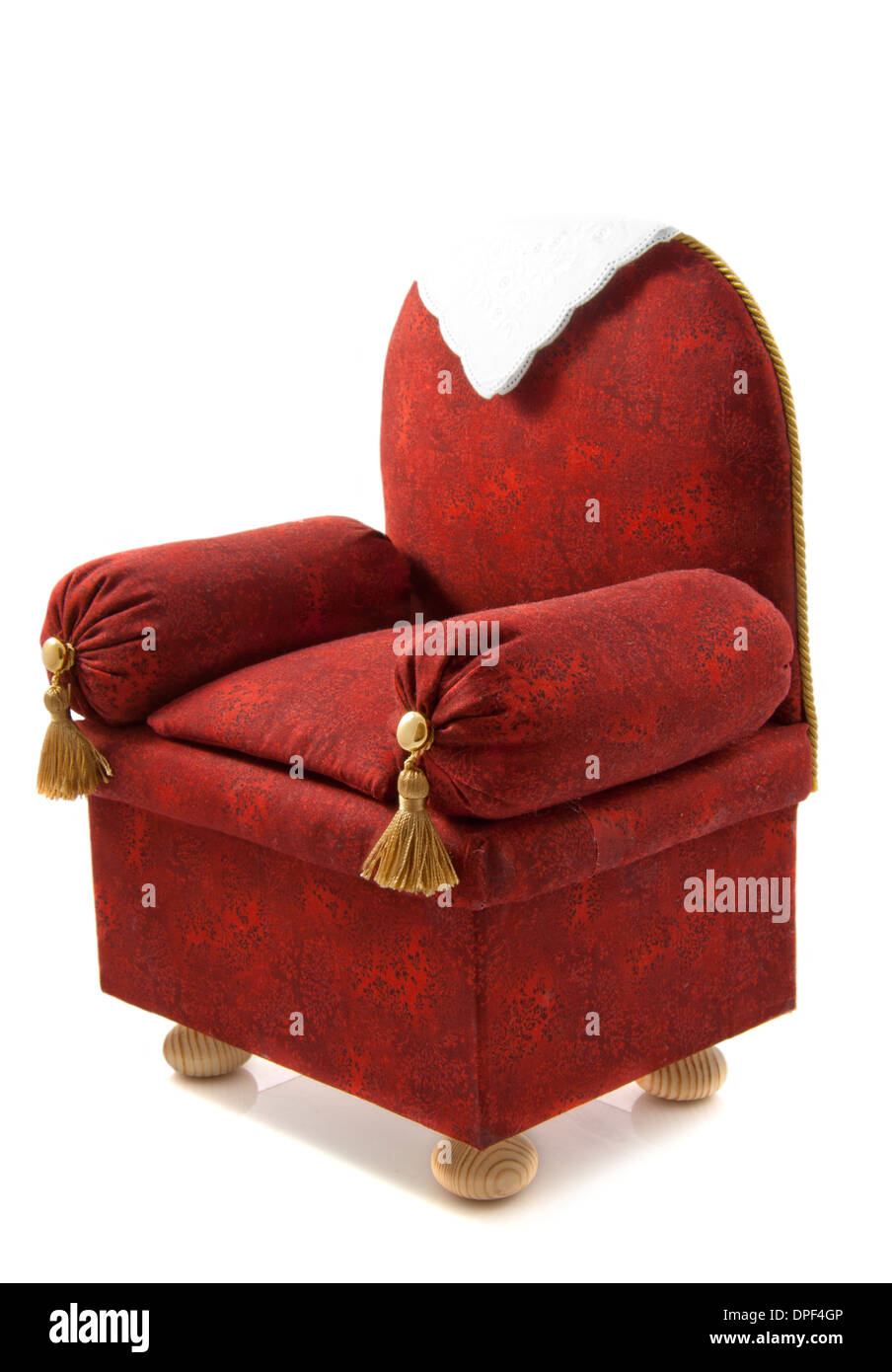 Handmade Brown Red Chair With Decoration Isolated Over White   Stock Image