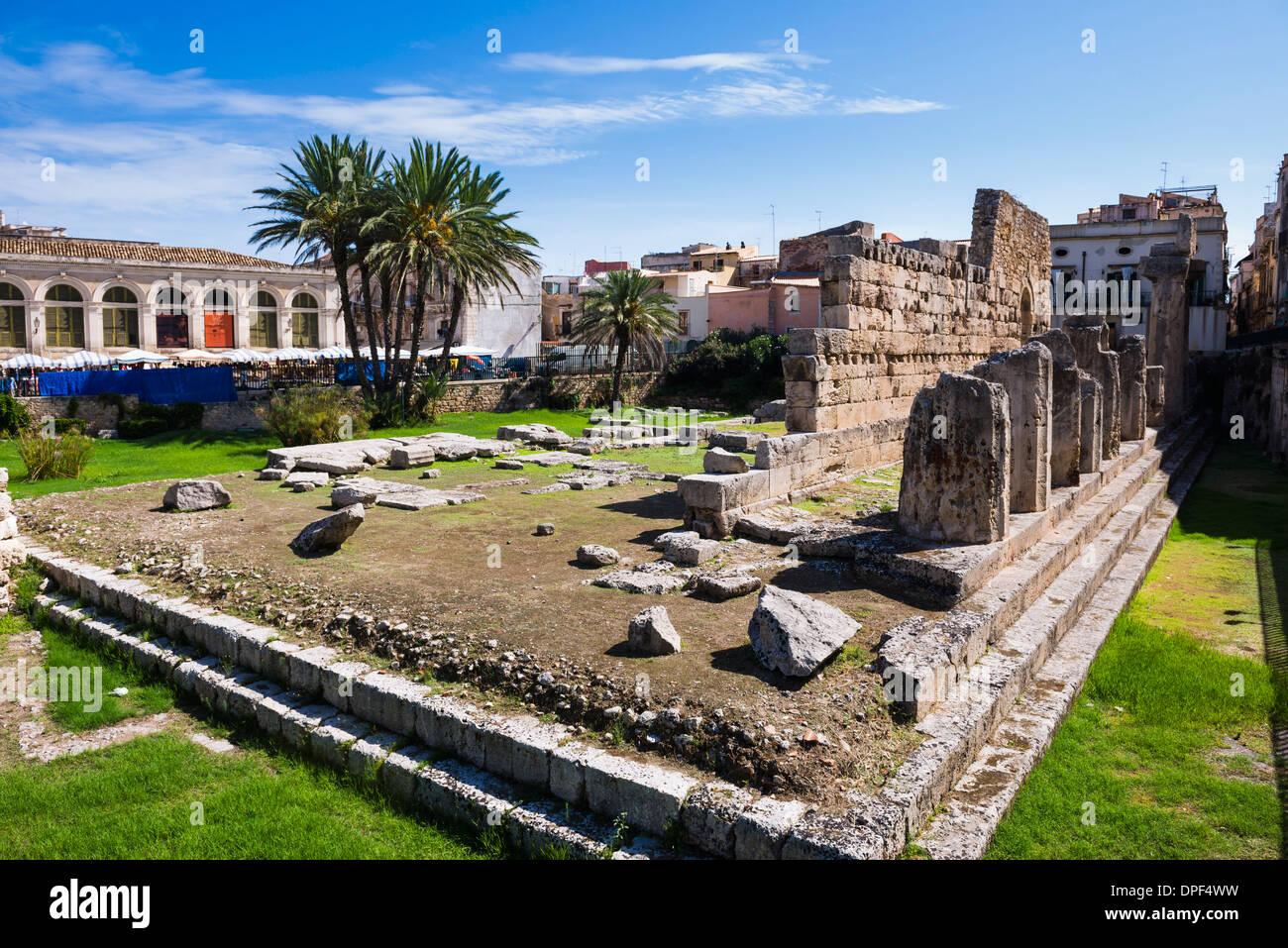 Temple of Apollo (Tempio di Apollo), Ortigia (Ortygia), Syracuse (Siracusa), UNESCO World Heritage Site, Sicily, Italy, Europe - Stock Image