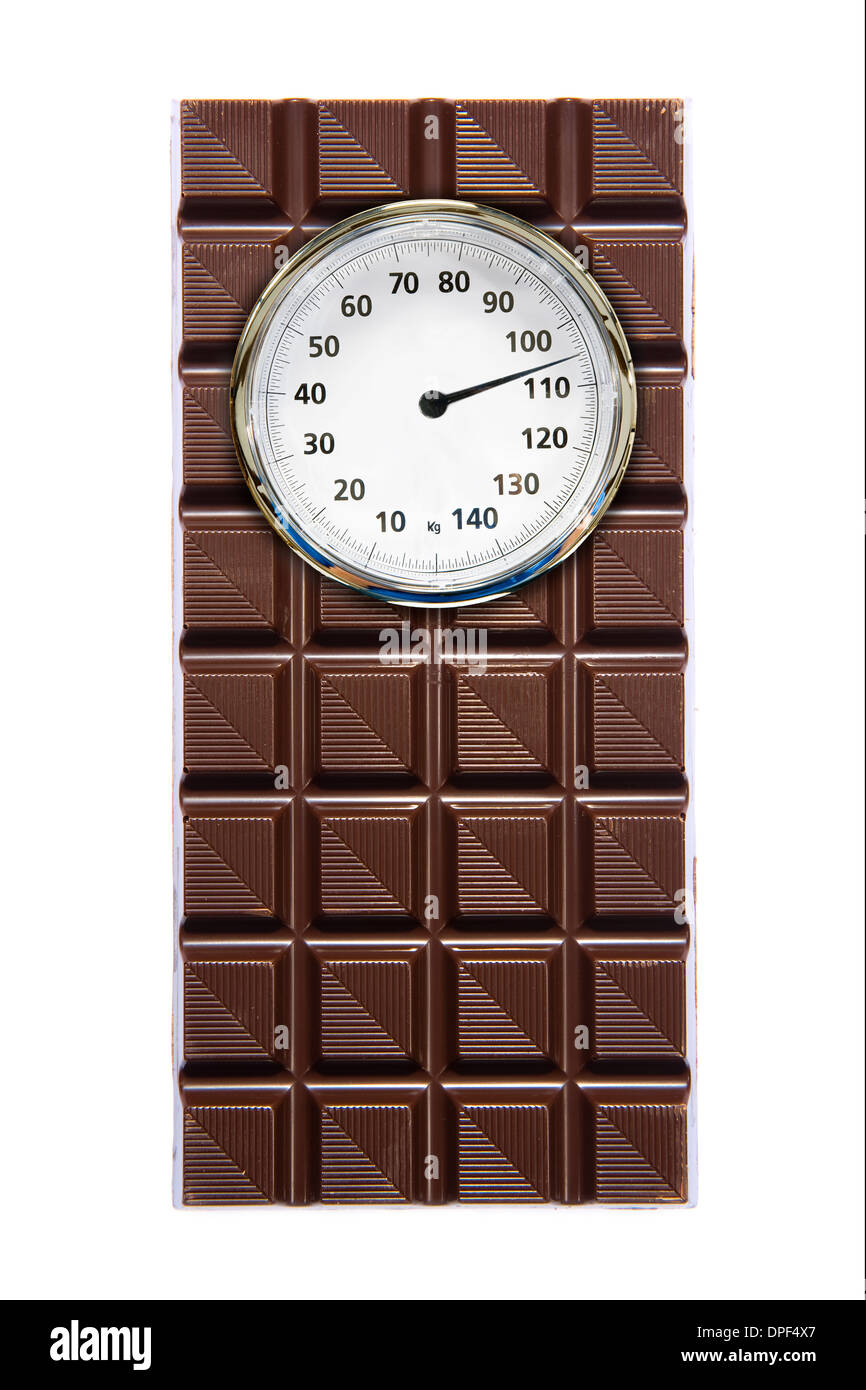 A piece of chocolate with a weight scale on it - Stock Image