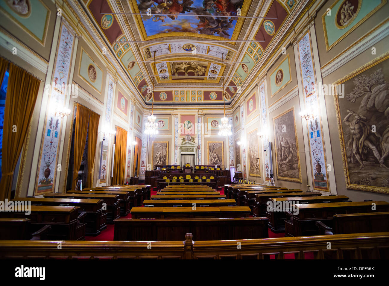 Courtroom at Royal Palace of Palermo (Palazzo Reale) (Palace of the Normans), Palermo, Sicily, Italy, Europe - Stock Image