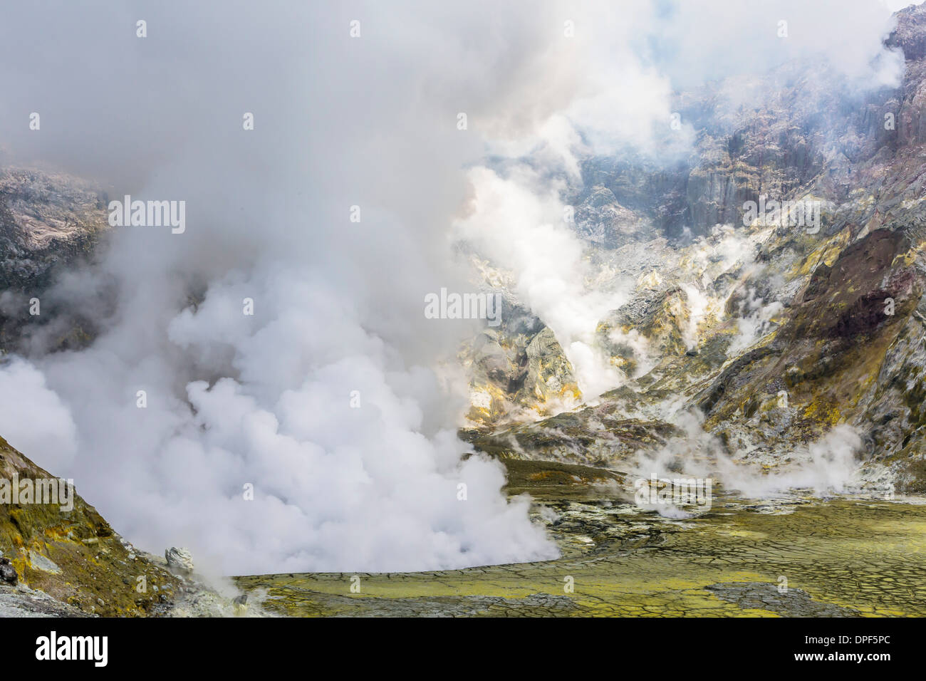 An active andesite stratovolcano on White Island, off the east side of North Island, New Zealand, Pacific - Stock Image