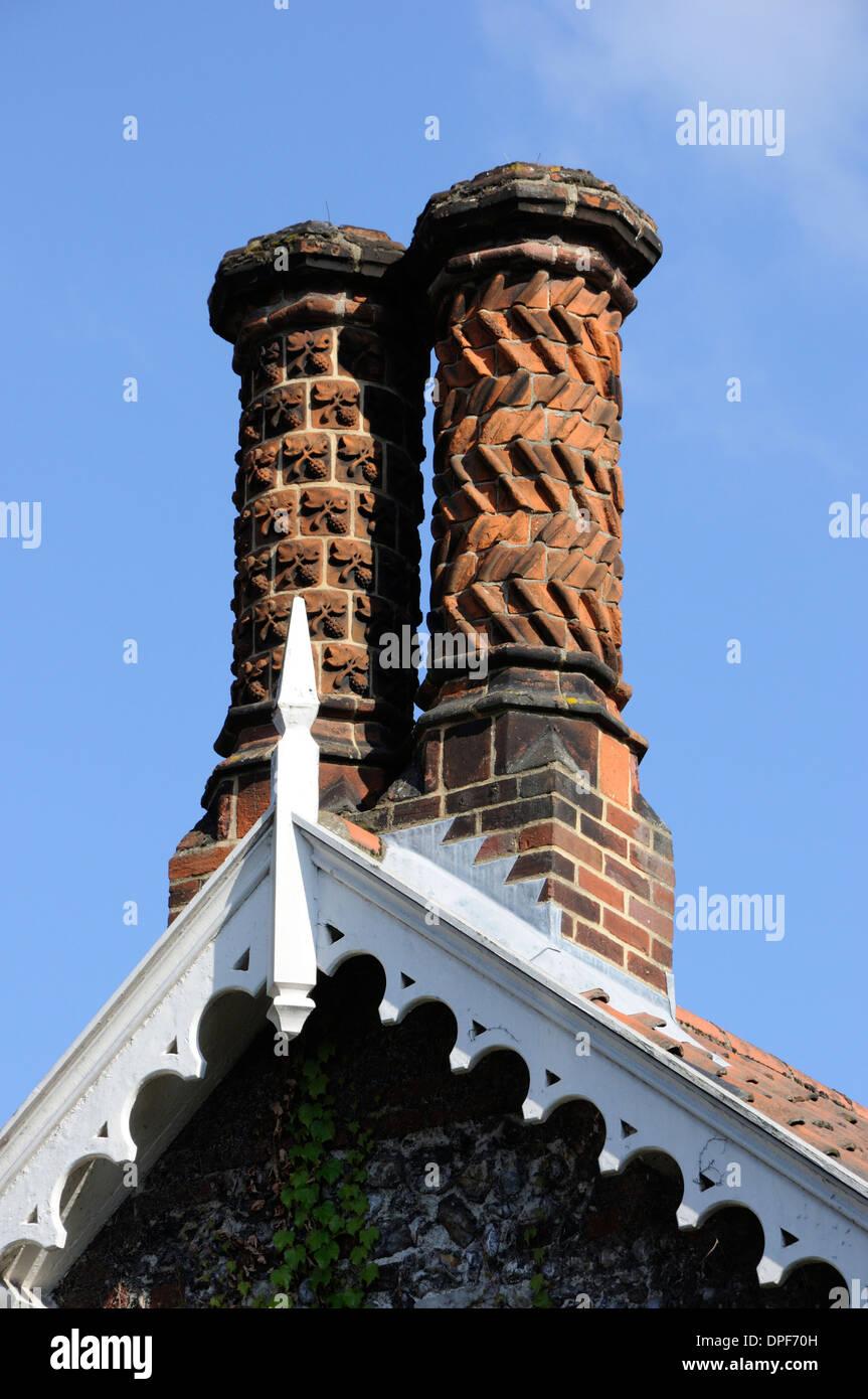 Ornate chimney stacks in Ferry Lane, Norwich Stock Photo