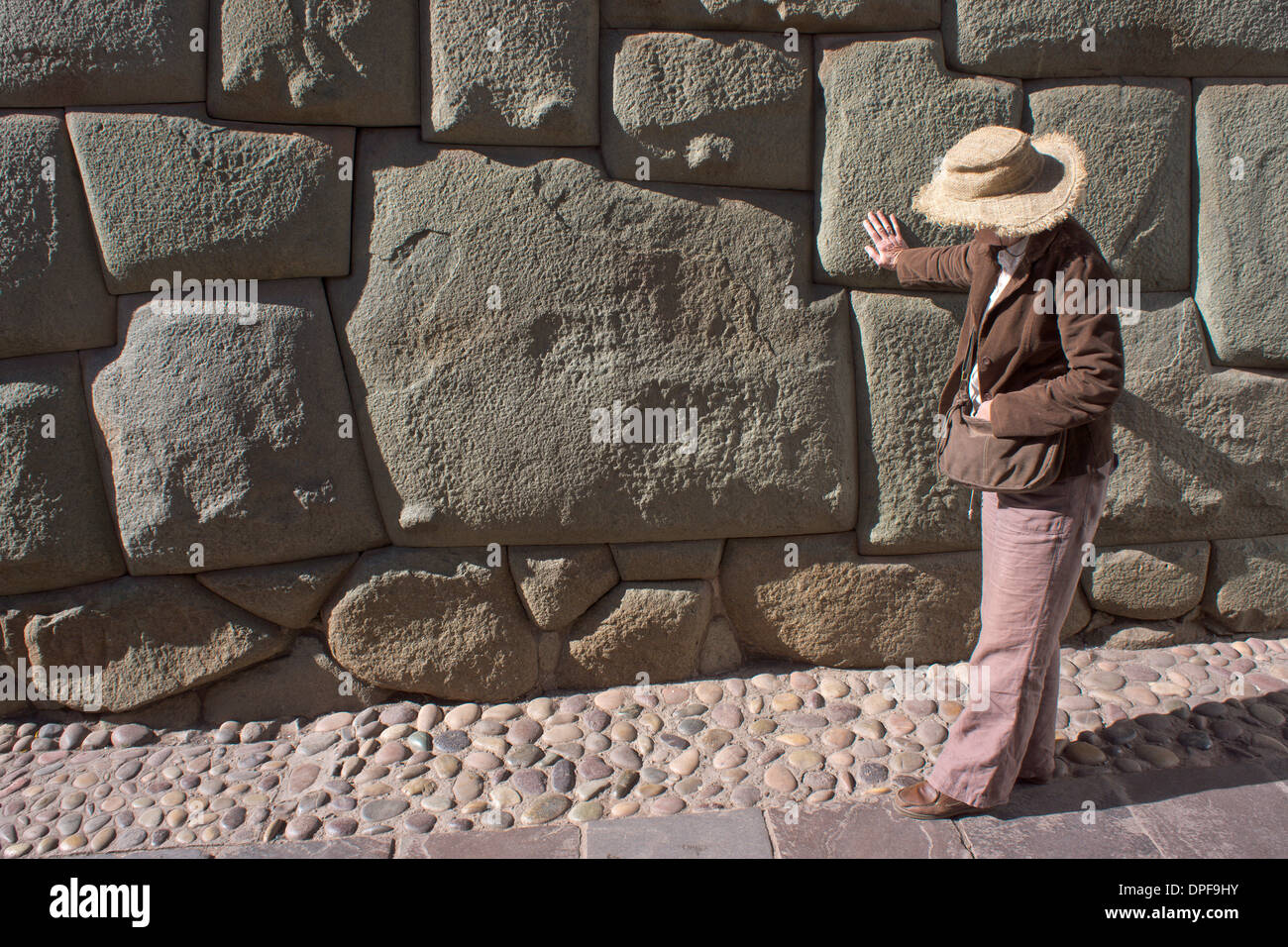 Magnificent example of Inca craftsmanship shown in this 12 sided stone, Peru, South America - Stock Image