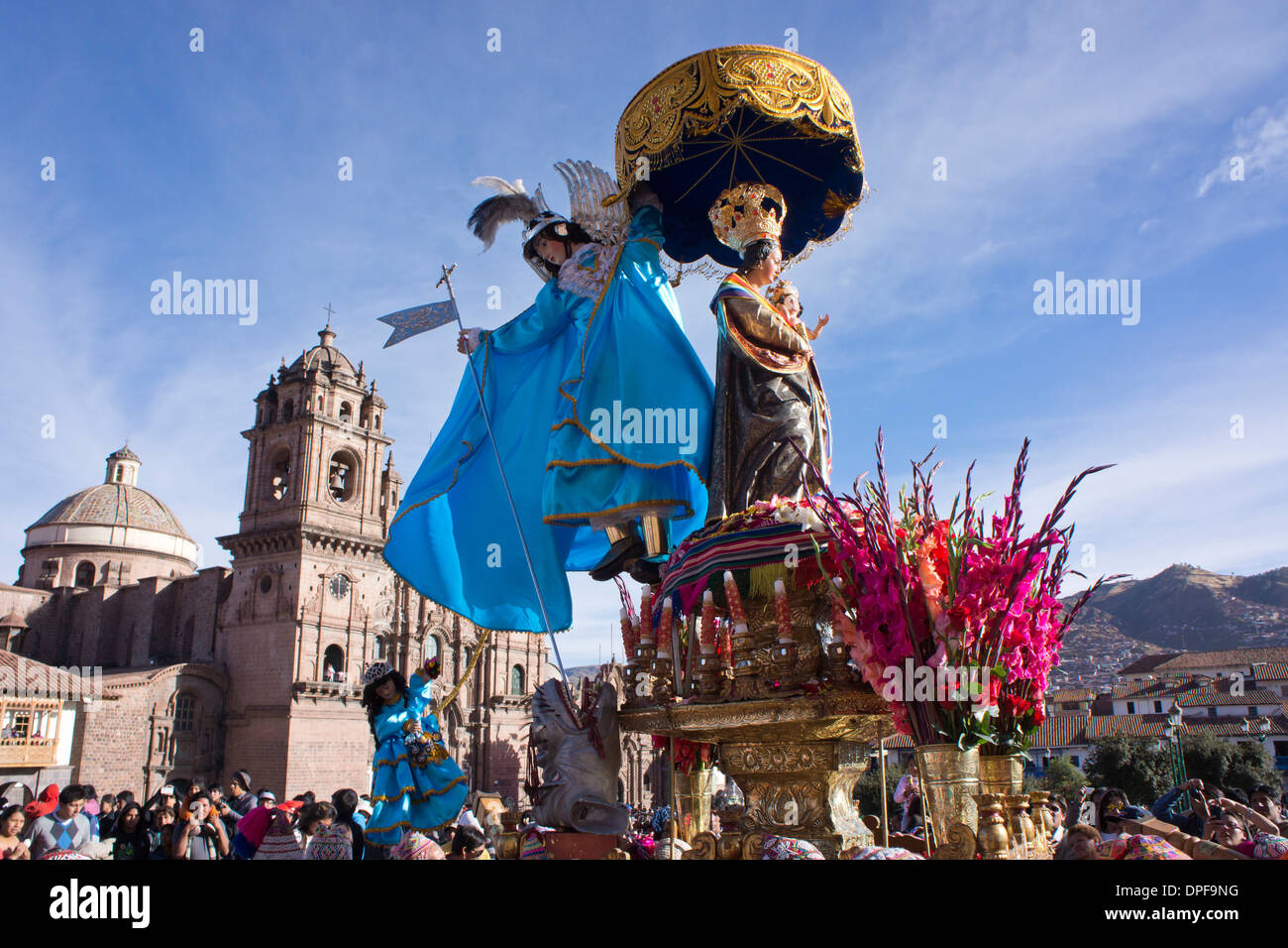 The festivities of Corpus Christi, the most important religious festival in Peru, held in Cuzco, Peru, South America - Stock Image