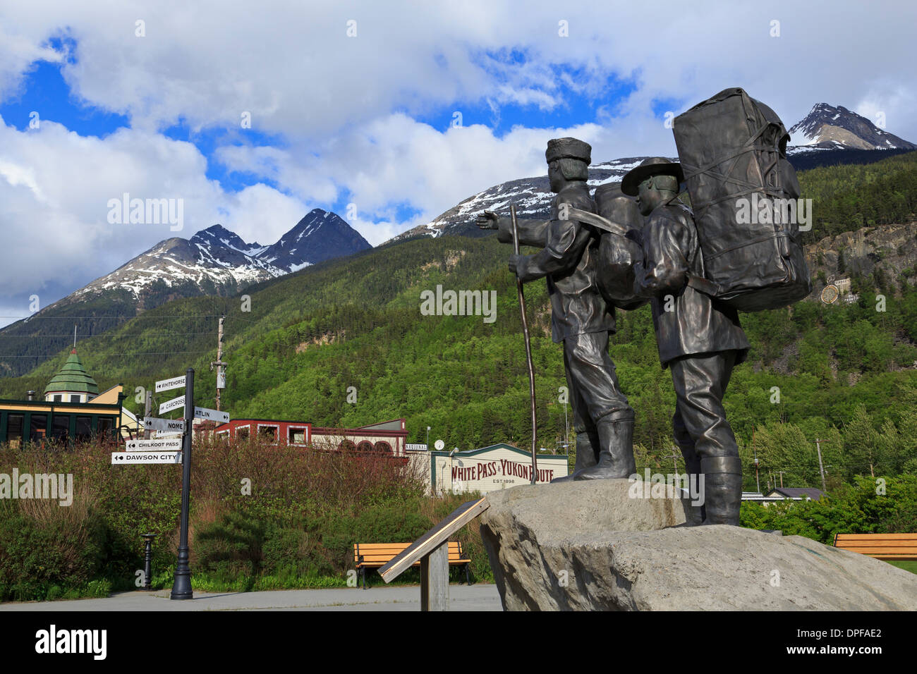 Prospector and Guide Monument, Skagway, Alaska, United States of America, North America - Stock Image