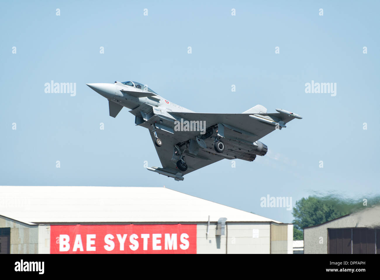 Italian Air Force Eurofighter EF2000 Typhoon multi role fighter jet takes off to display at the 2013 RIAT Stock Photo