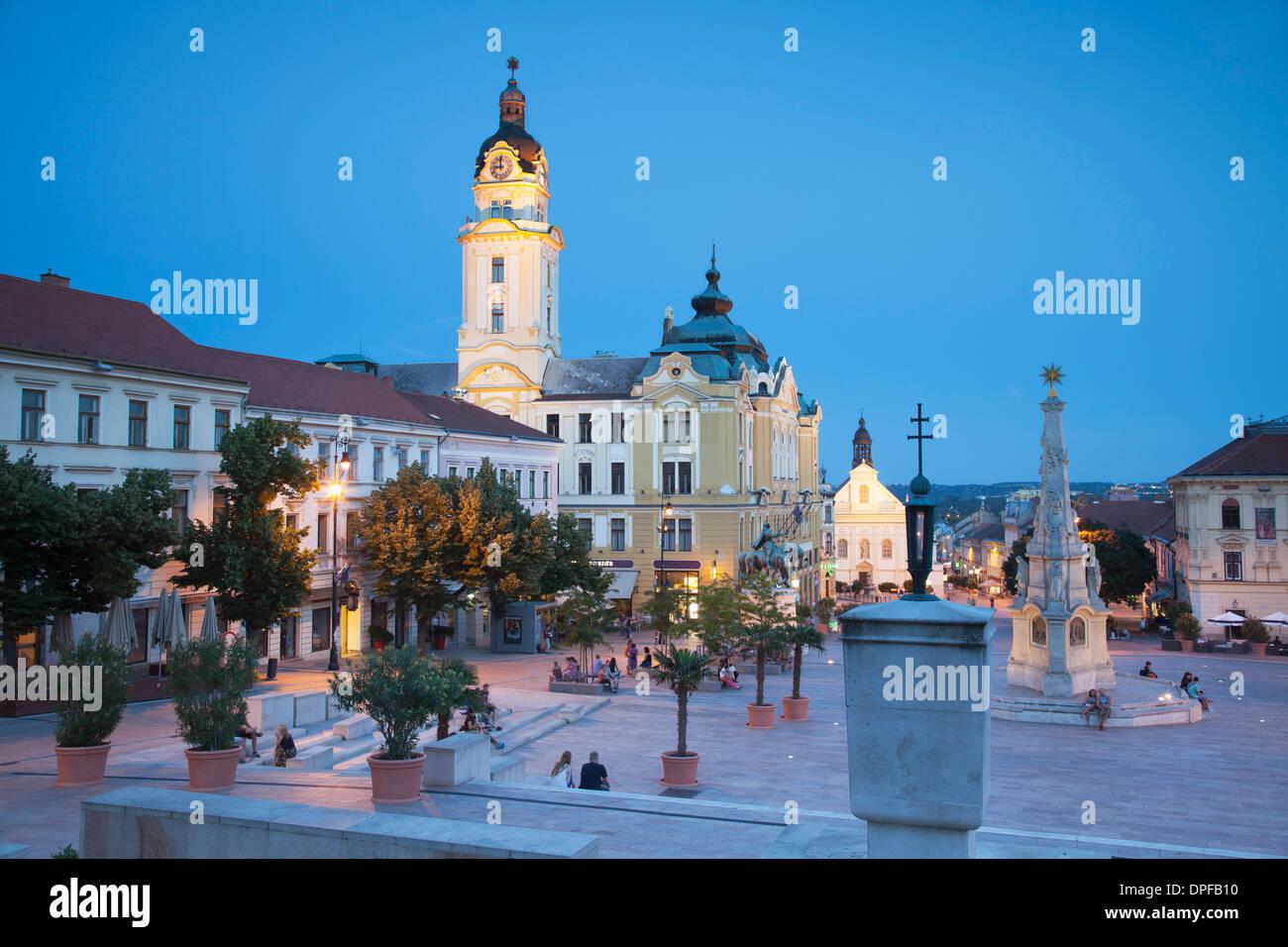 Szechenyi Square at dusk, Pecs, Southern Transdanubia, Hungary, Europe - Stock Image