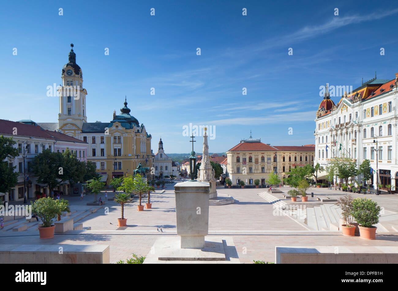 Szechenyi Square, Pecs, Southern Transdanubia, Hungary, Europe - Stock Image
