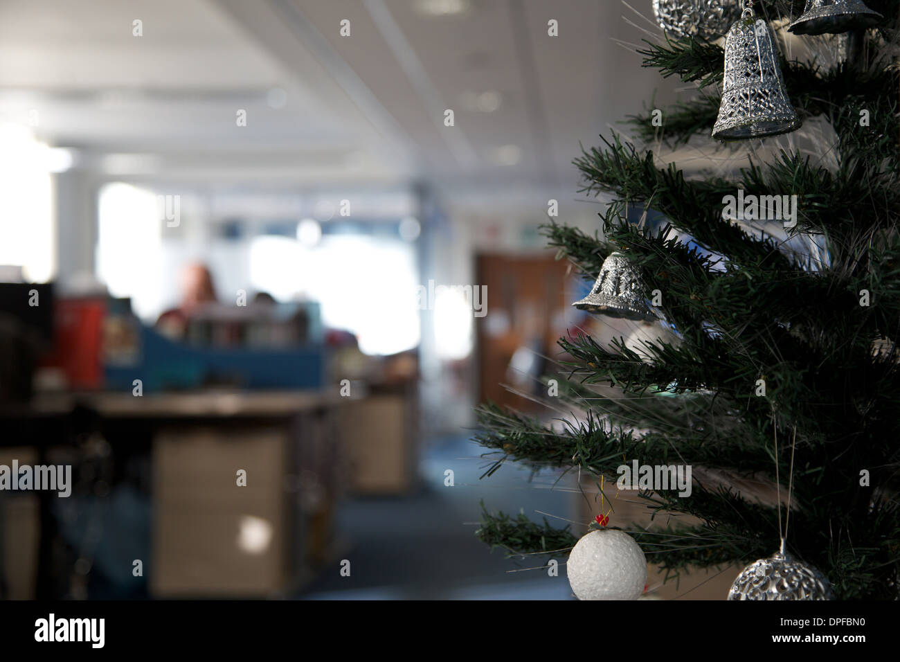 Christmas tree decorations in an office in the UK England Great ...