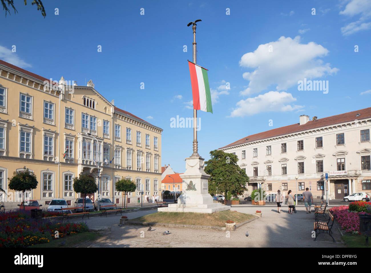Flag of Loyalty in Szechenyi Square, Sopron, Western Transdanubia, Hungary, Europe - Stock Image