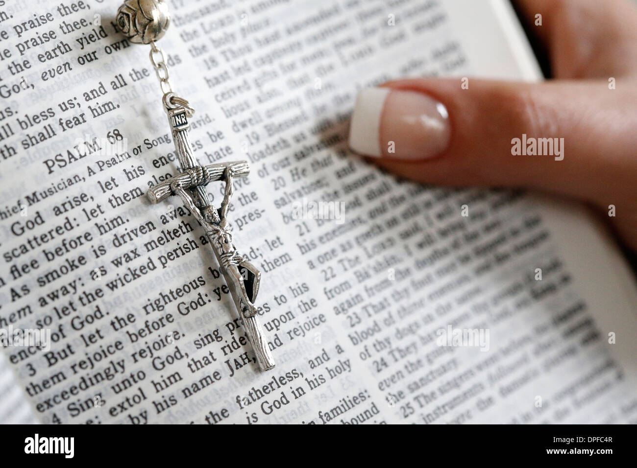 Reading Psalms in the Bible, Paris, France, Europe Stock Photo