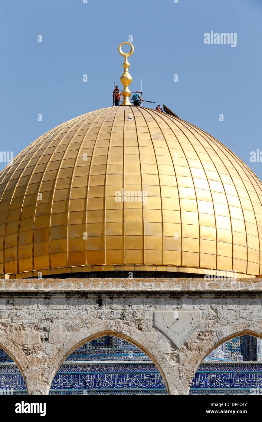 The Dome of the Rock, on Jerusalem's Temple Mount, UNESCO Site, one of the holiest shrines in Islam, Jerusalem, Israel - Stock Image