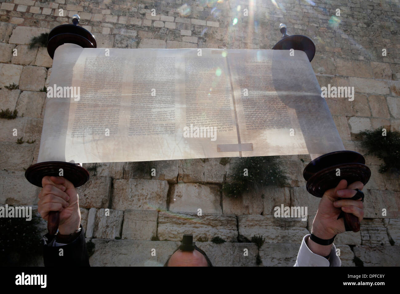 A ceremonial reading of the Torah from Torah scroll under the Western Wall, Jerusalem, Israel, Middle East - Stock Image