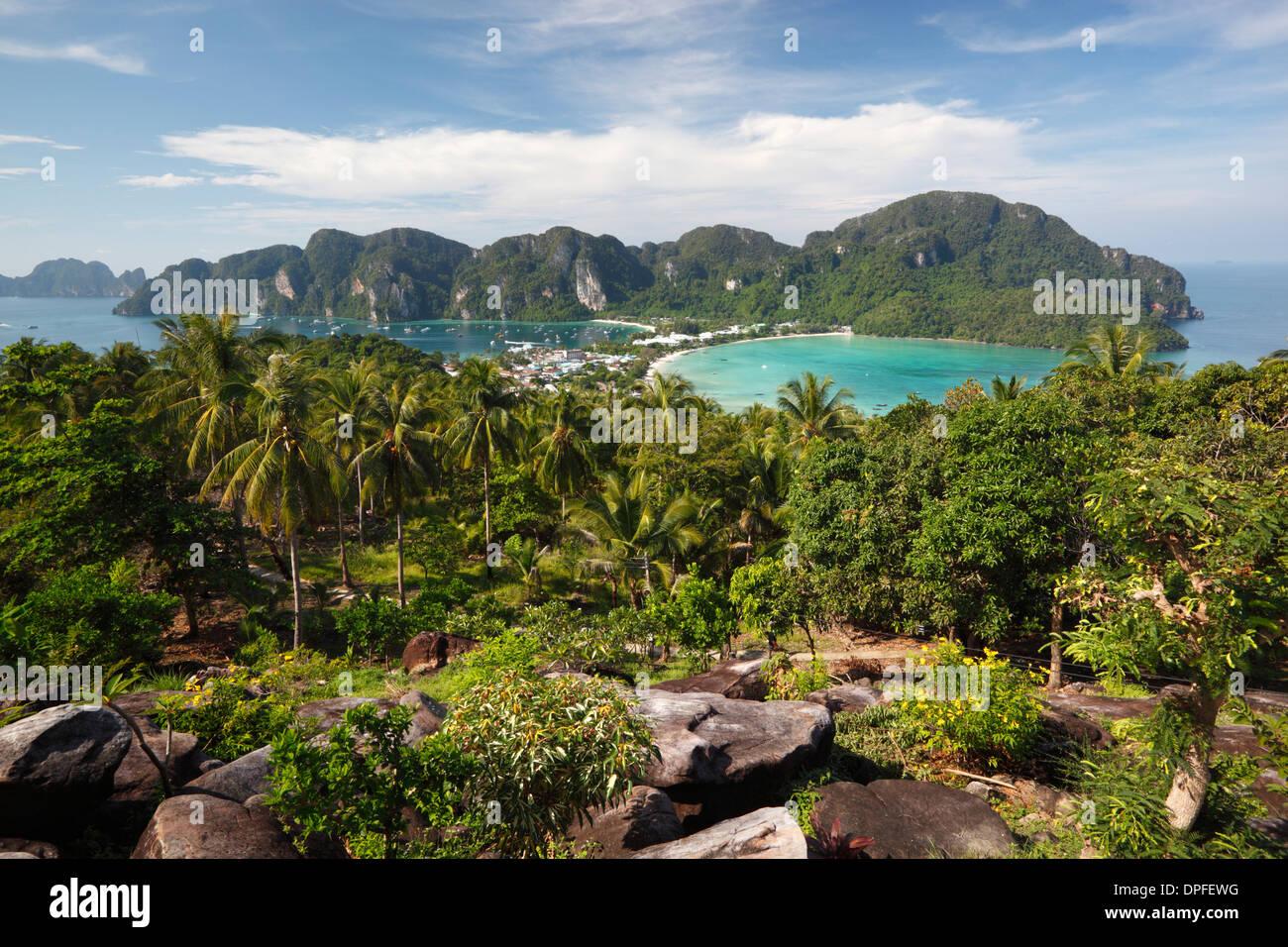 Ao Ton Sai and Ao Dalam bays from viewpoint, Koh Phi Phi, Krabi Province, Thailand, Southeast Asia, Asia - Stock Image