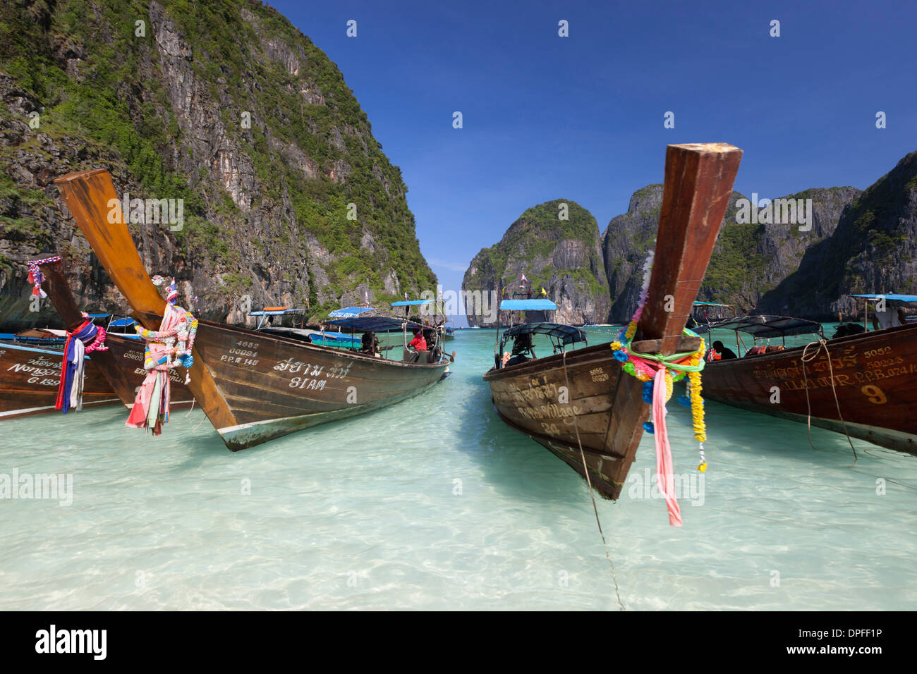 Maya Bay with long-tail boats, Phi Phi Lay, Krabi Province, Thailand, Southeast Asia, Asia - Stock Image
