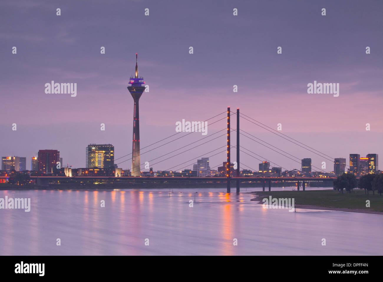 The Dusseldorf skyline at dusk, Dusseldorf, North Rhine-Westphalia, Germany, Europe Stock Photo