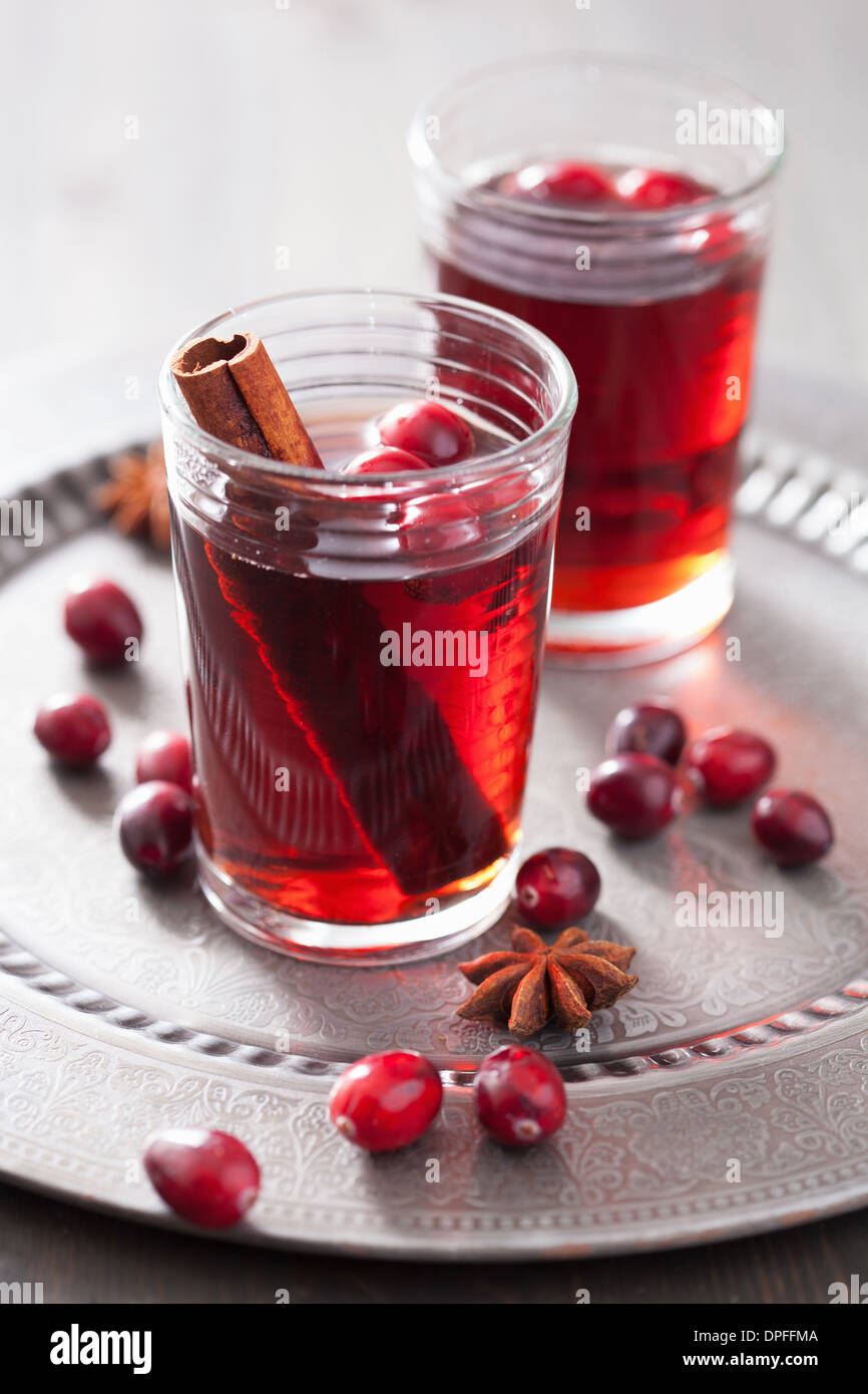 mulled wine with cranberry and spices - Stock Image