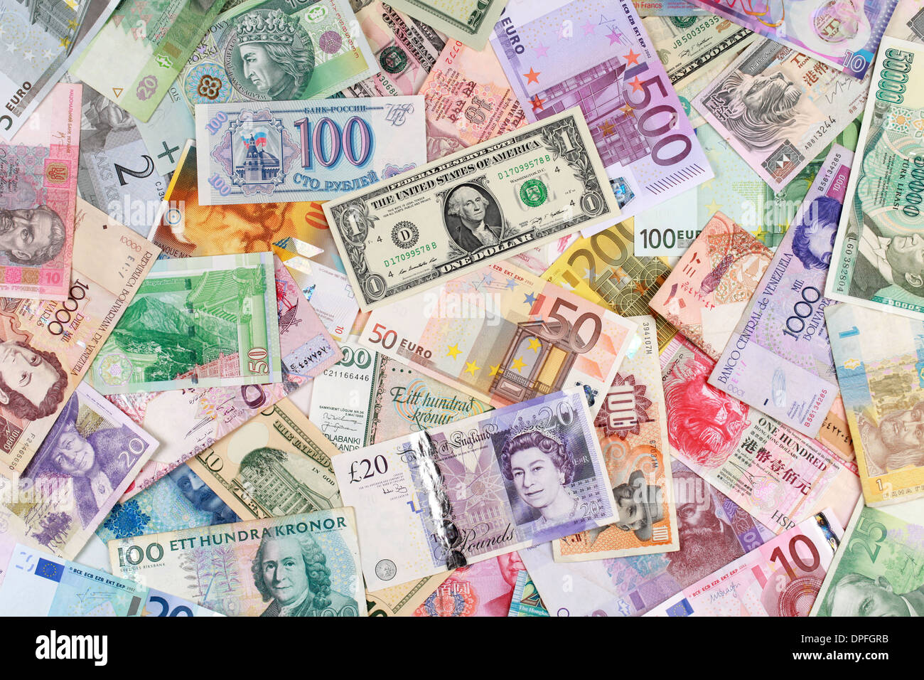 Currency from all over the world such as Euro, Dollar ...