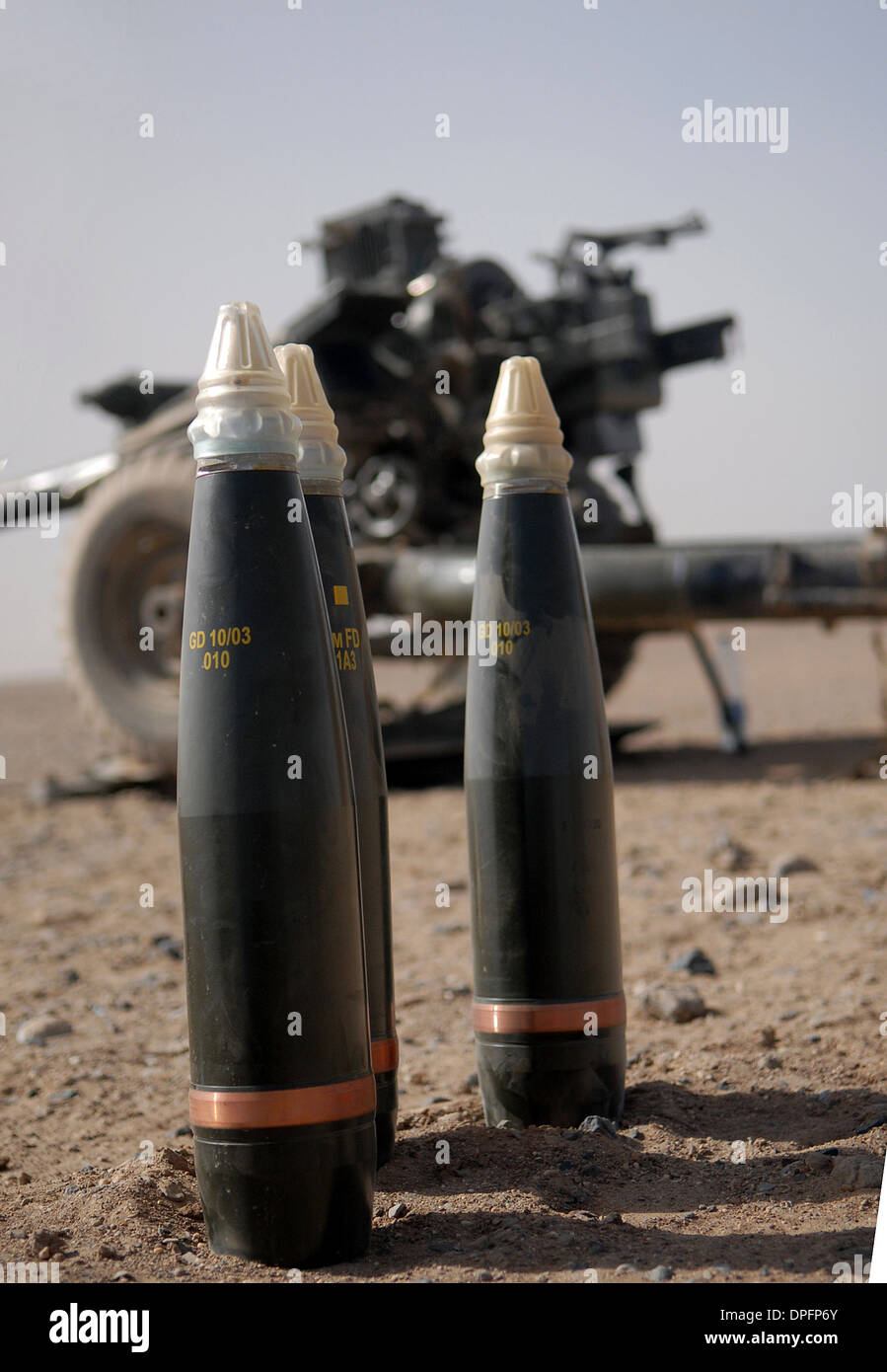 105mm artillery rounds camp Bastian, Afghanistan Stock Photo