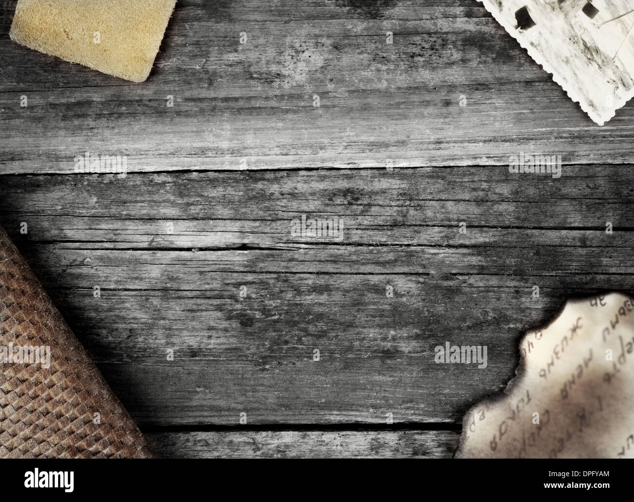 Vintage background with bleached wood and photography Stock Photo