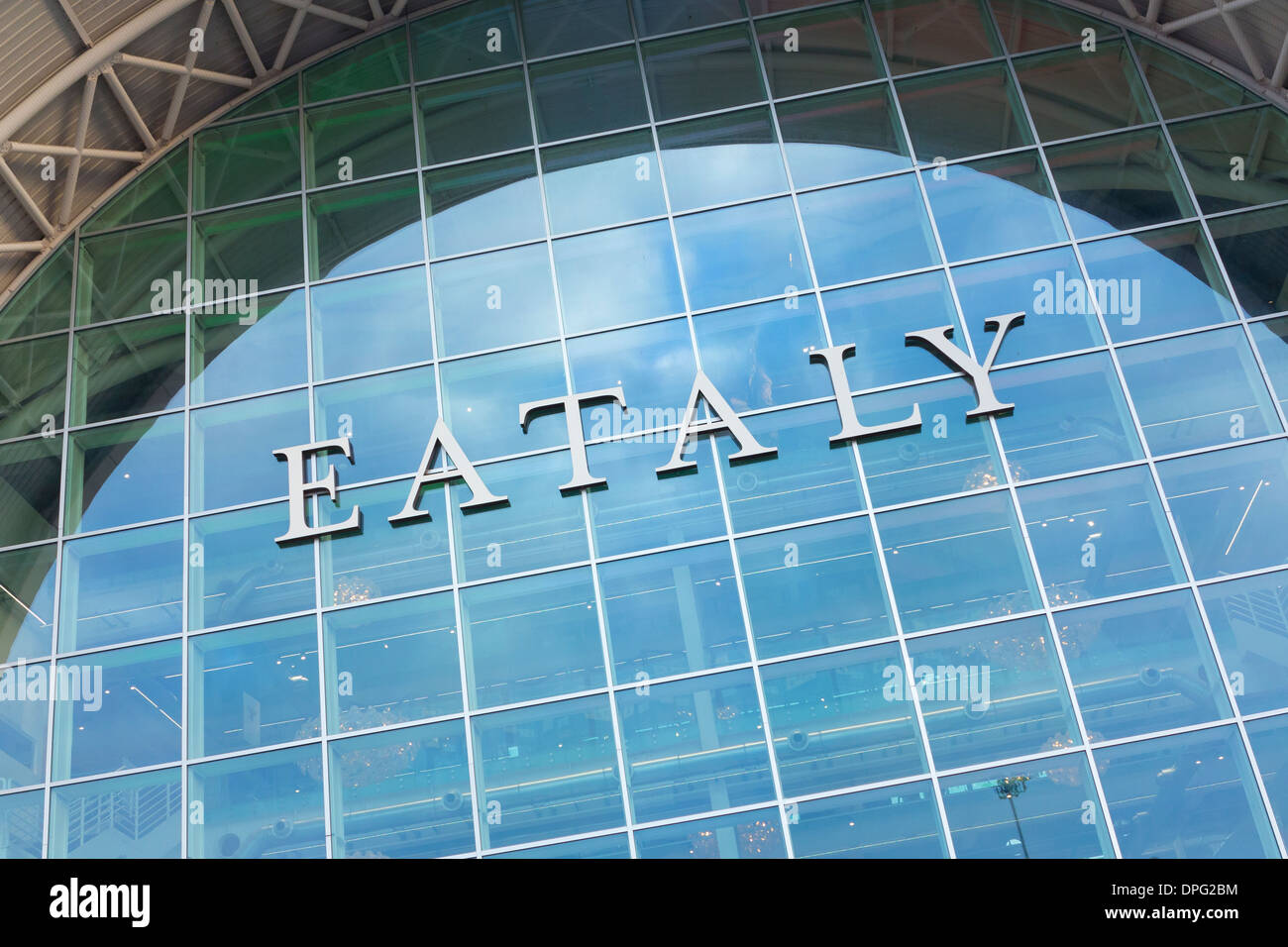 Exterior sign of the Eataly store in Rome, Italy - Stock Image