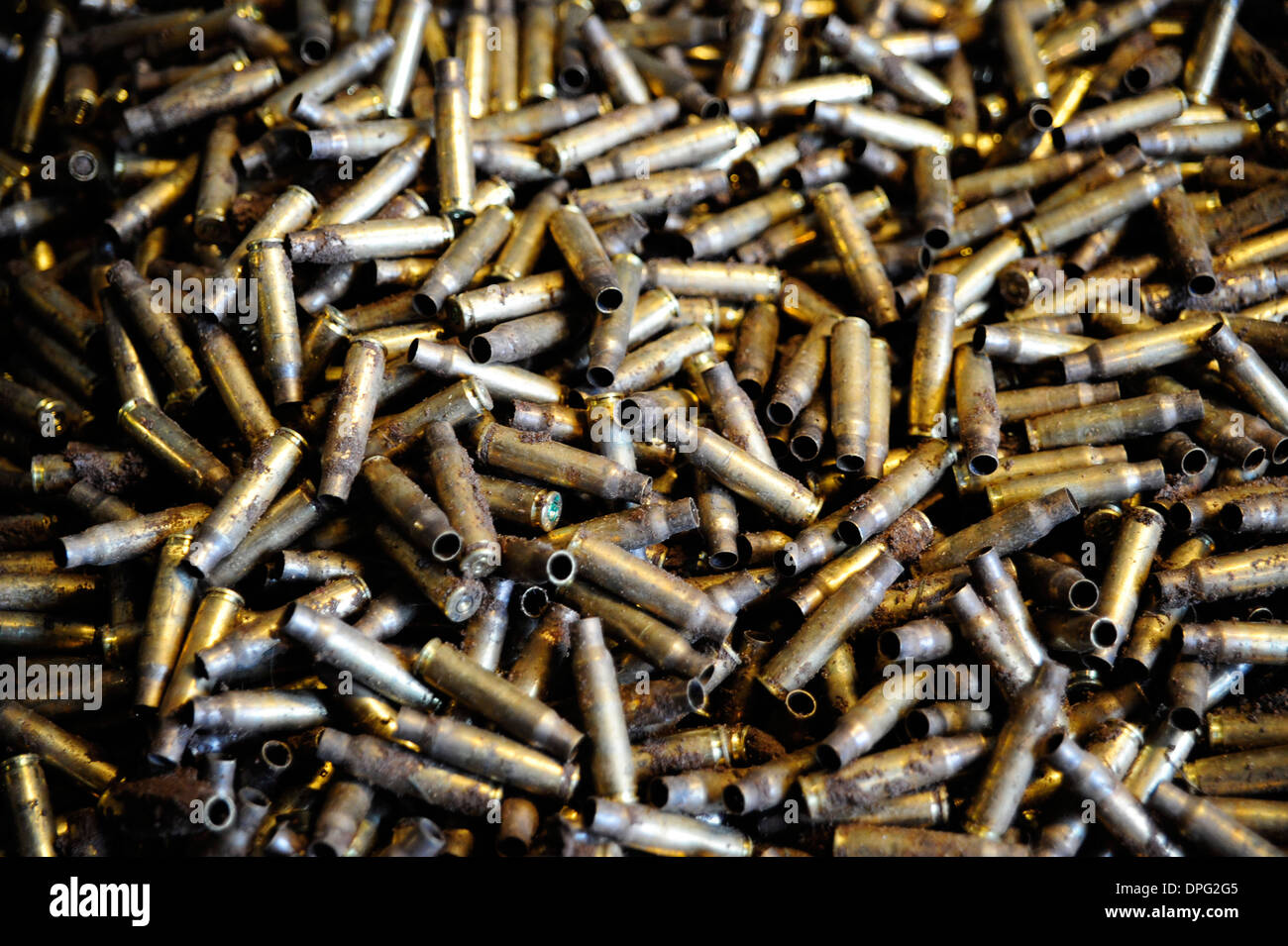 7.62mm empty bluet casses,, bullets ,bomb, rockets,missiles, shells ,,ammo boxes, rounds,he explosive, British army,ammunition, - Stock Image