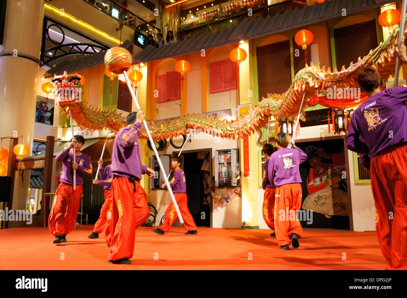 dragon dance troupe from Malaysia - Stock Image