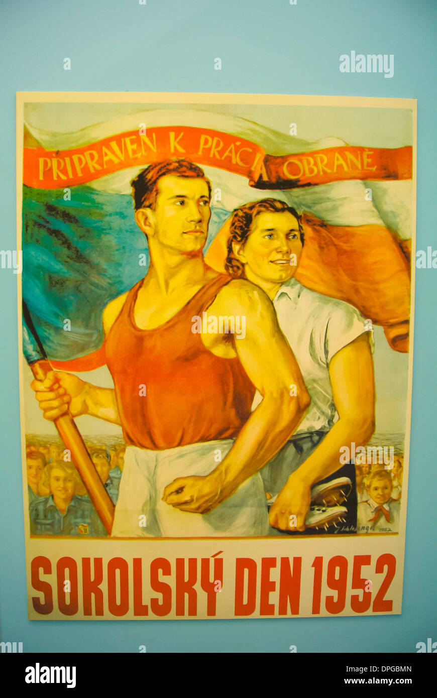 Sokol poster from Socialist era Armadni muzeum the military museum of Czechoslovakia Zizkov district Prague Czech - Stock Image