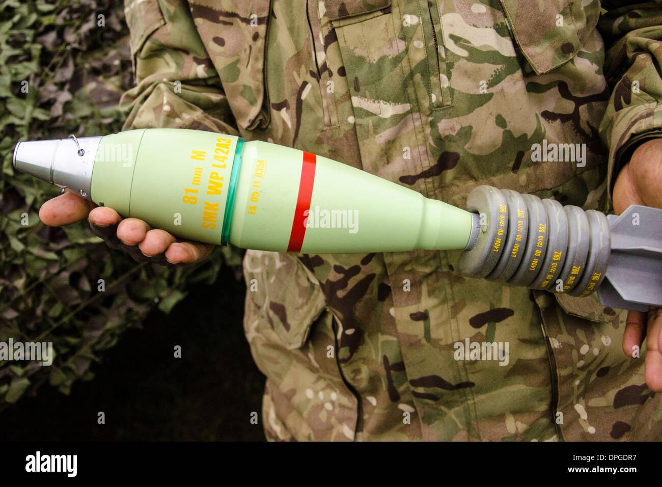 81mm rounds,wp,white,phosphorus, ammunition ammo munitions  munitions bullets bomb rockets shells , boxes 81mm mortar rounds - Stock Image