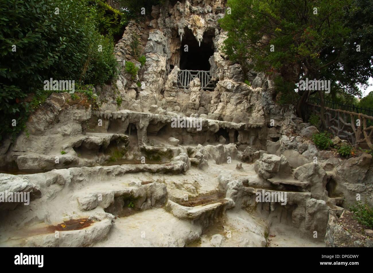 Waterfalls and grottoes Villetta di Negro park central Genoa Liguria region Italy Europe - Stock Image
