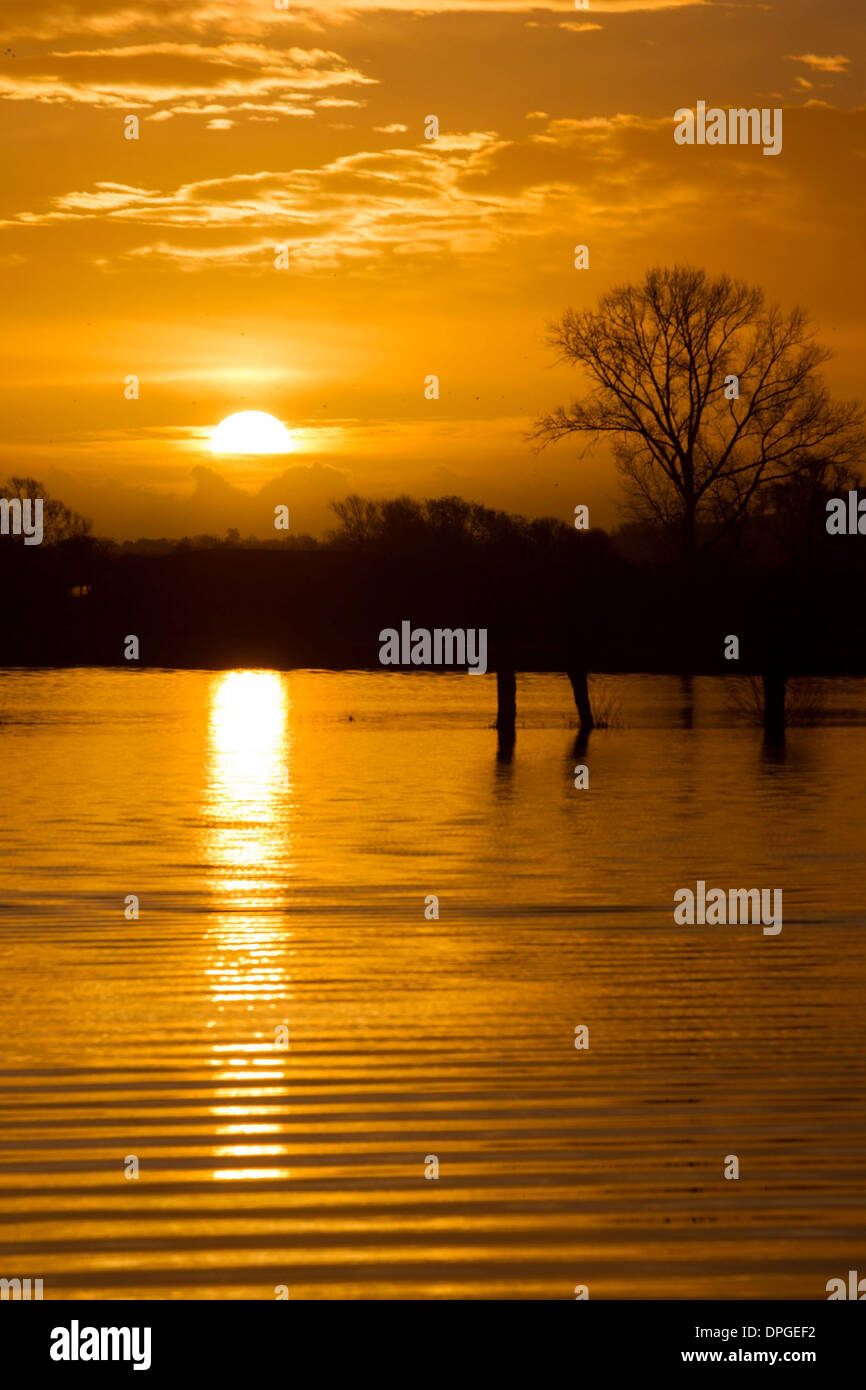 The sun rises over flooded fields near Glastonbury, Somerset - Stock Image