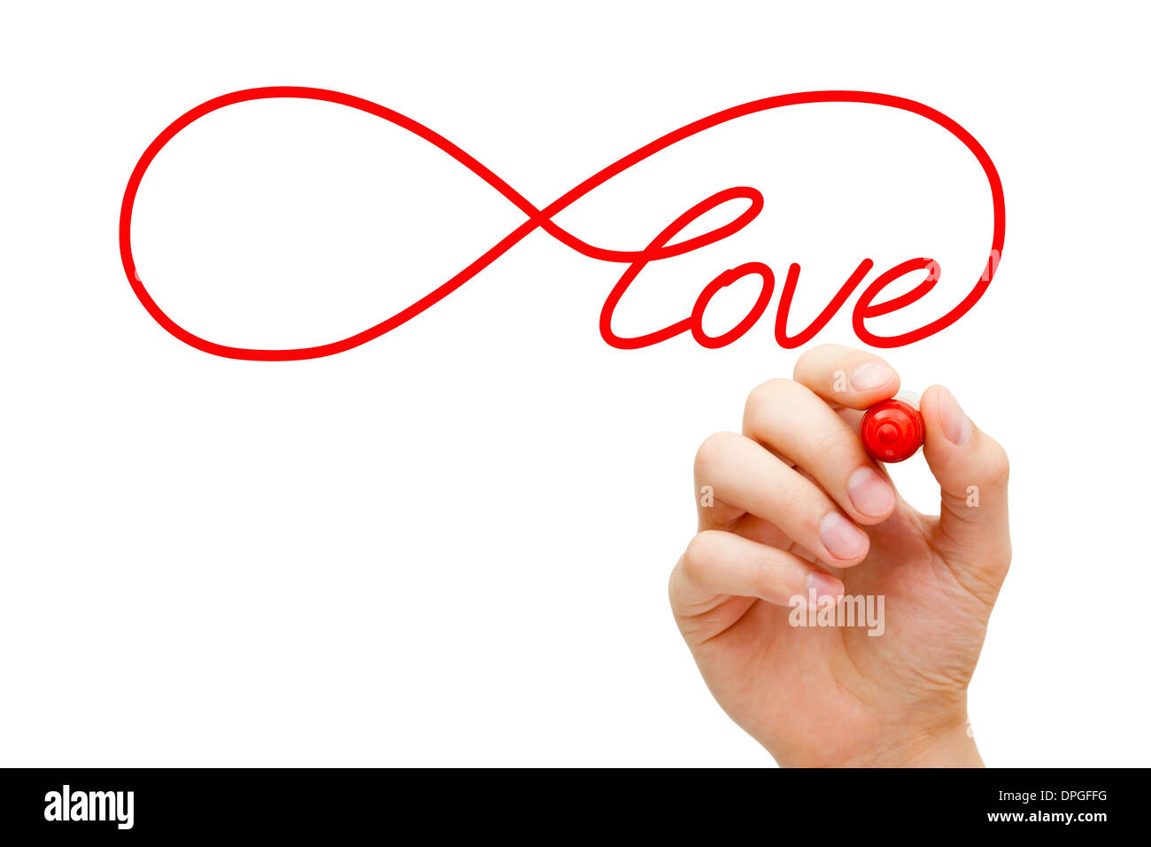 Hand Sketching Infinity Love Symbol With Red Marker On Transparent